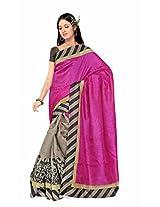 ISHIN Bhagalpuri Silk Pink & Gray Printed Saree