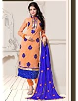 Saara Orange And Blue Embroidered Dress Material - 142D3032