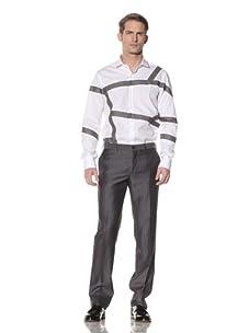 Simon Spurr Men's Button-Front Shirt with Contrasting Trim (White)