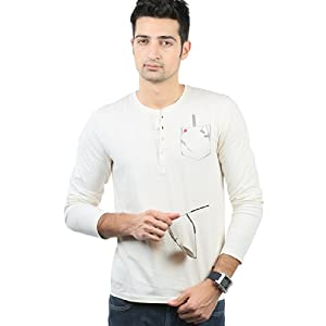 Solid Off White Henley Neck T Shirt
