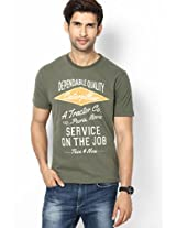 Solid Olive Crew Neck T Shirt