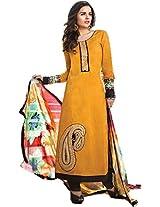 Pairahan Womens Cotton Mustard Dress Material