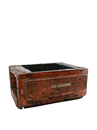 One-Of-A-Kind Vintage Wood Pully Box, Antique Red, Dark Brown Details