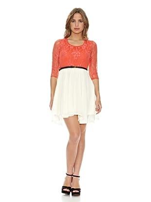 Rare London Vestido (Coral/Crema)