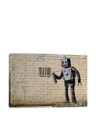 Banksy Coney Island Barcode Robot Gallery Wrapped Canvas Print