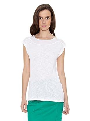 Cortefiel Camiseta Lisa Cremaller (Blanco)