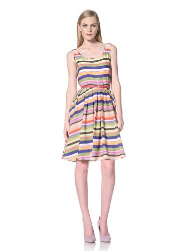 Ellen Tracy Women's Sleeveless Striped Dress with Belt (Multi)