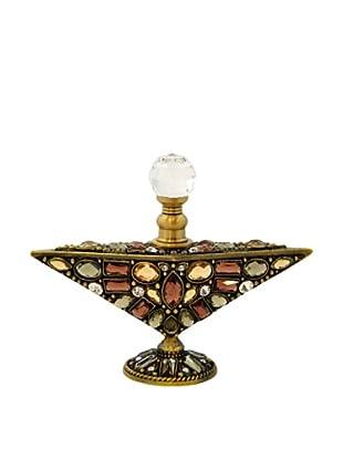 Hand-Set Crystal Bejeweled Triangular Perfume Bottle (Brown)