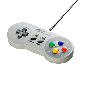 iBUFFALO USBゲームパッド 8ボタン スーパーファミコン風 グレー BSGP801GY