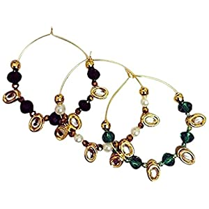 La Joyeria Kundan Hoops with Pearl or crystal