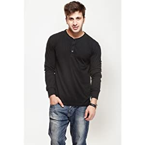 Solid Black Long Sleeve Henley T Shirt