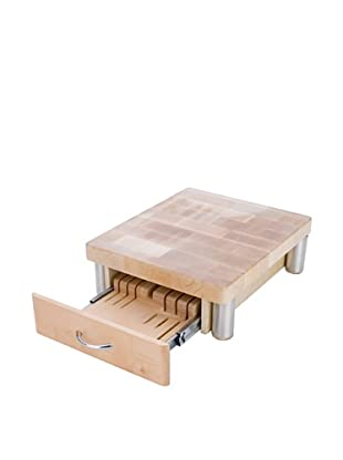 MIU France Maple Cutting Board with 7-Slot Knife Drawer (Natural)