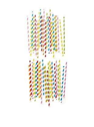 ACME Party Box Set of 48 Stripey Straws (Multi)