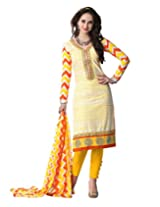 Voguish Cotton Yellow Embroidered Un stiched Straight cut Semi stiched suit