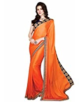 Shoppingover festival partywear saree in Orange color