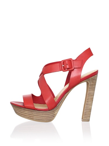 Luxury Rebel Women's Chantal Ankle-Strap Sandal (Coral Red)