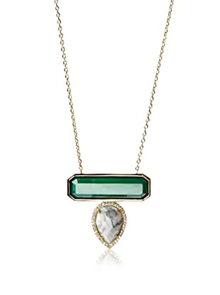Melanie Auld Green Onyx/Howlite Bar Drop Necklace
