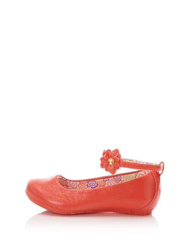 Pampili Kid's Twist Dance Ballet Flat with Flower (Coral)