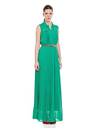 Cortefiel Vestido Imagen Largo Plis (Verde Oscuro)