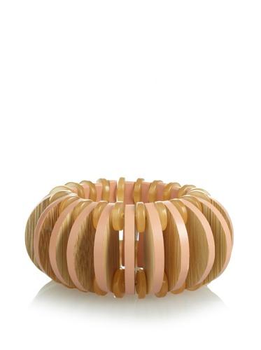 MARNI Women's Beige Wooden Stretch Bracelet