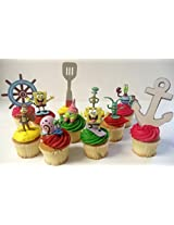 "Spongebob SquarePants 11 Piece Birthday Cupcake Topper Set Featuring 2"" to 3"" Cupcake Toppers of Squ"