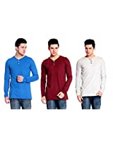 Lemon & Vodka Combo Pack of 3 Henley Mens Solid Tshirt-CMB4-L