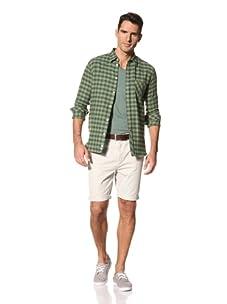 FARAH Men's The Fenn Check Long Sleeve Woven Shirt (Dill)
