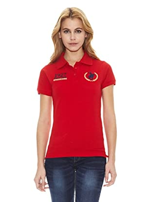 Polo Club Polo Manga Corta Custom Fit Big Horse & Number (Rojo)