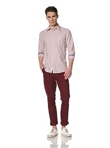 Benson Men's Long Sleeve Woven Shirt (Red Blue Stripe)