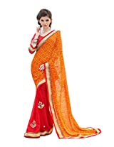 Bahubali Womens Half bandhni and half dyed with patch wok with heavy lace(85610_Gold and Red Colour Saree)
