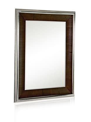 Majestic Mirrors Walnut Veneer with Nickel Mirror (Silver/Walnut)