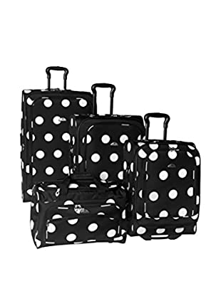 American Flyer Grande Dots 4-Piece Luggage Set, Black/White