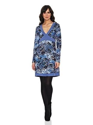 Janis Vestido Animal Ribetes (Azul)