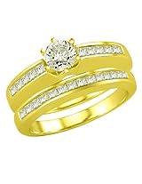 Surat Diamond 110Tcw E Vvs1 Engagement Wedding Ring Set In 18K Gold
