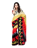 Ambaji Black & Yellow Coloured Renial Printed Saree