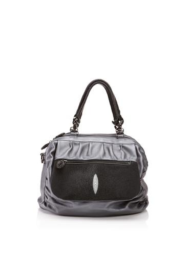 Khirma Eliazov Leather & Stingray Top Handle Bag (Gunmetal)