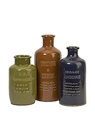 Set Of 3 Vintage Elixir Bottles, Multi
