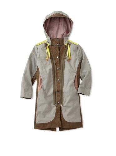 kicokids Girl's 2-Tone Town And Country Rain Coat With Hidden Pocket (KhakiI/Potpourri)