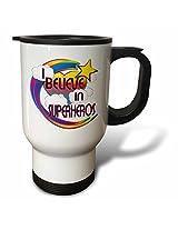 3dRose I Believe in Superheros Cute Believer Design Travel Mug, 14-Ounce