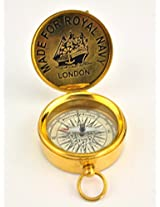 Antique reproduction pocket compass with hinged lid royal navy