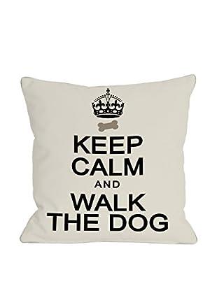 One Bella Casa Keep Calm & Walk The Dog Pillow, Ivory/Black