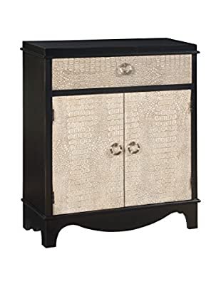 Coast to Coast Solid Embossed 1-Drawer & 2-Door Cabinet, Black/White
