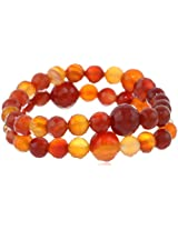 """Set of 2, Faceted Carnelian Round and Swarovski Elements Bead Stretch Bracelet, 7.5"""""""