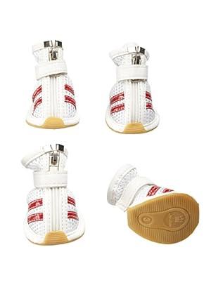 Pet Life Mesh Dog Shoes (White/Red Stripe)