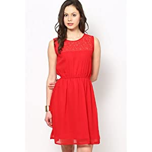 Red Laced Yoke Sleeveless Georgette Dress