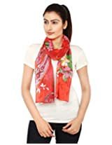 Anekaant Red Printed Cotton Women's Scarf