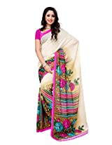 Ambaji Beige & Pink Coloured Renial Georgette Printed Saree