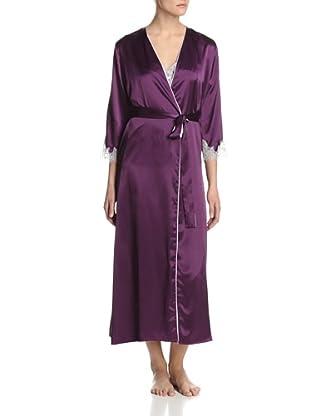 Oscar de la Renta Pink Women's Lavish Lace Long Robe (Crushed Grape)