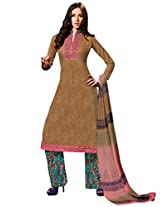 Inddus Women Bronze & Pink Self Designed Plazzo Unstitched Material