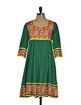 Printed flared green kurti